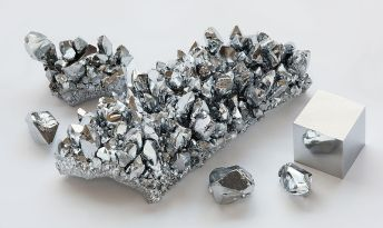 Chromium crystals & 1cm. cube (Wikipedia)